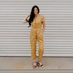 Mustard Floral Button Up Jumpsuit